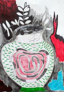 Roter Kranich / Uroboros (positiv)